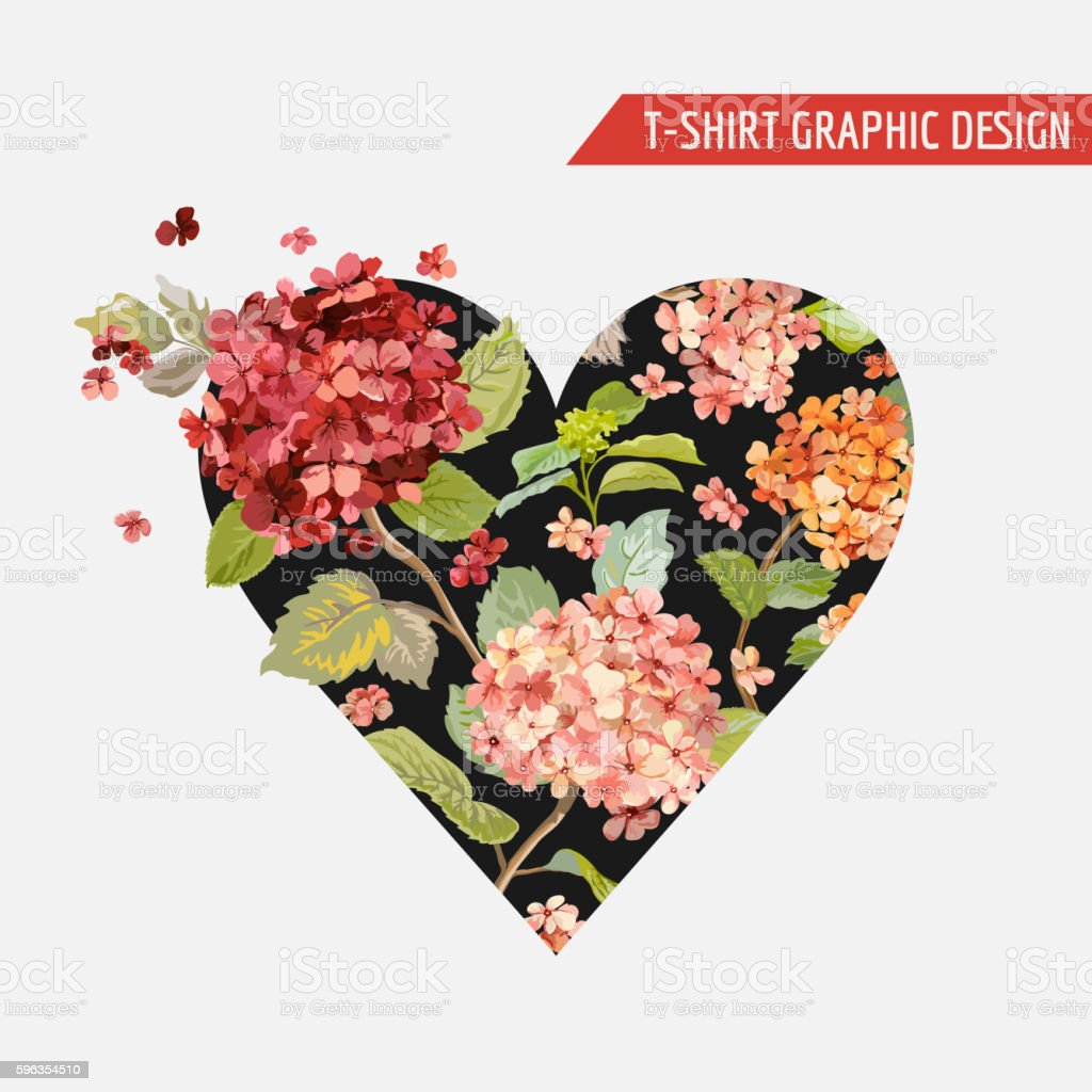 Floral Heart Graphic Design - for T-shirt, Fashion, Prints royalty-free floral heart graphic design for tshirt fashion prints stock vector art & more images of backgrounds