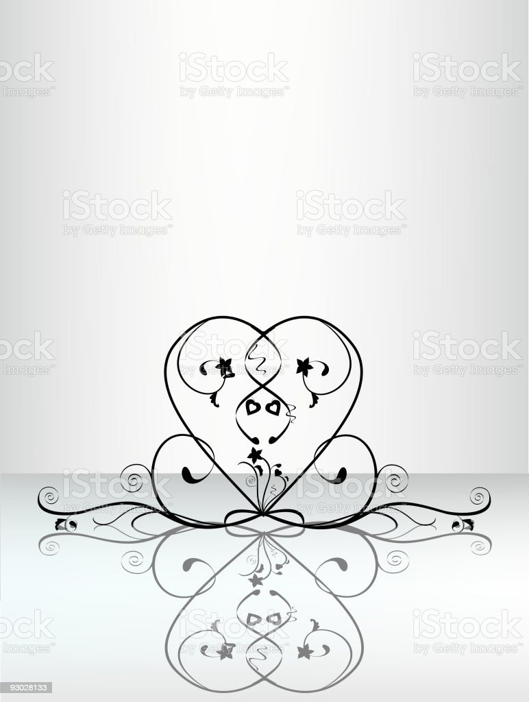 floral heart reflections royalty-free stock vector art