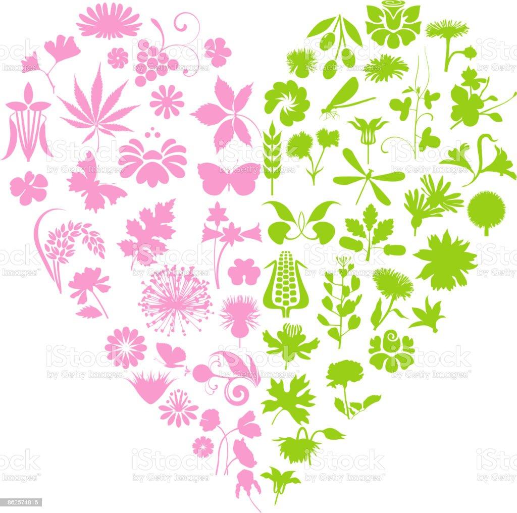 Floral heart vector art illustration