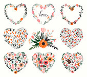 Floral hearts collection