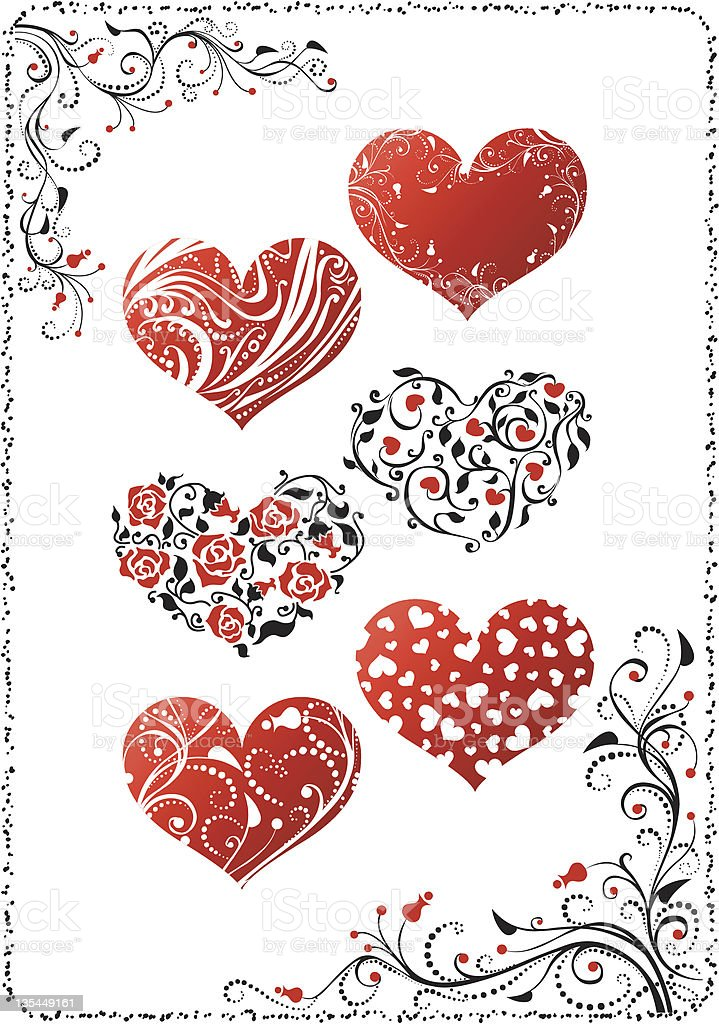Floral hearts royalty-free stock vector art