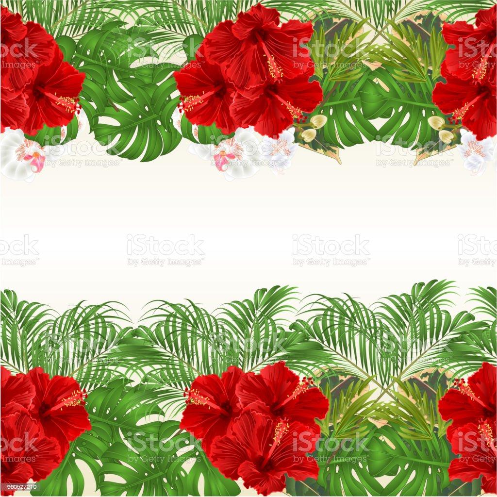 Floral Horizontale Rahmenlinie Nahtlose Hintergrund Mit Blühenden ...