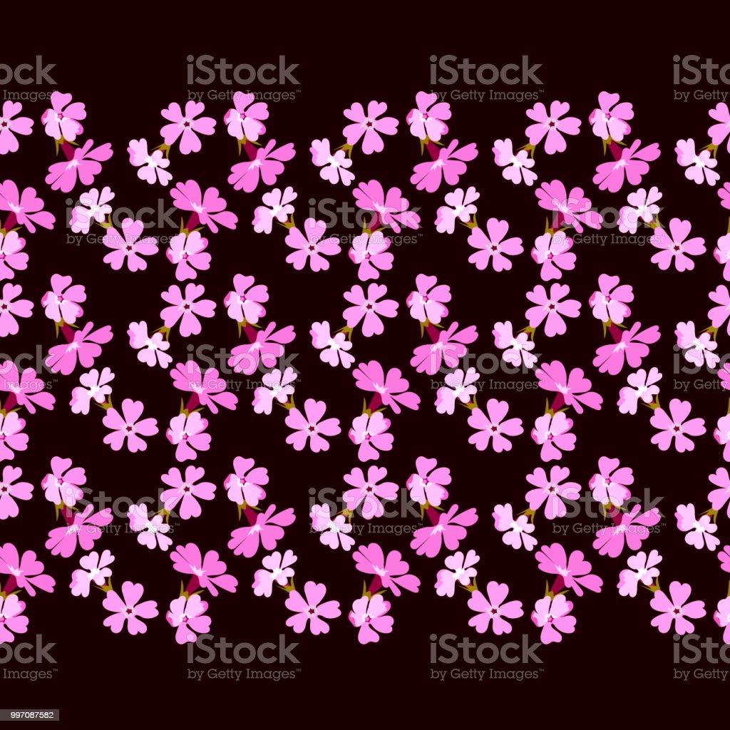 Motif floral bordure ornementale horizontale avec des fleurs petites roses sur contraste foncé fond transparent vecteur - Illustration vectorielle