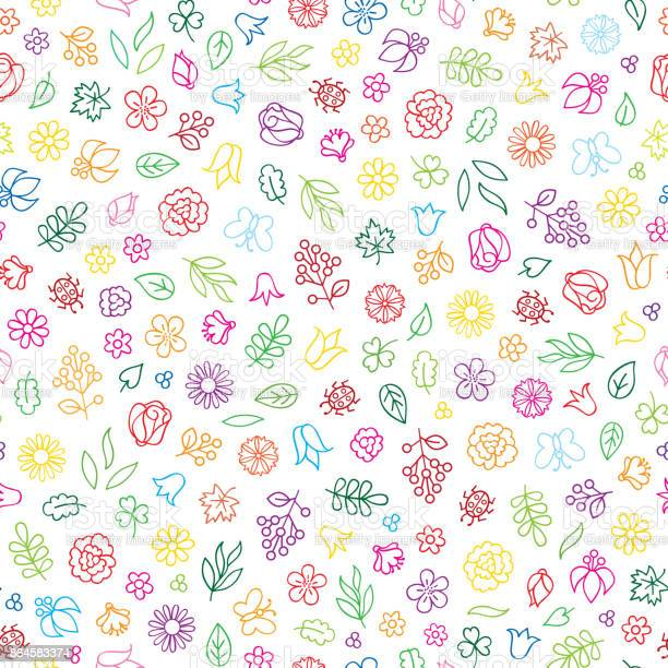 Floral icon seamless pattern flowers and leaves summer backgro vector id864583374?b=1&k=6&m=864583374&s=612x612&h=dozyu6it9bow2xp36bkc7ls9fyylxavyaqgi3ufs8k0=