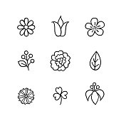 Floral icon set. Flowers, berry and leaves line art icons