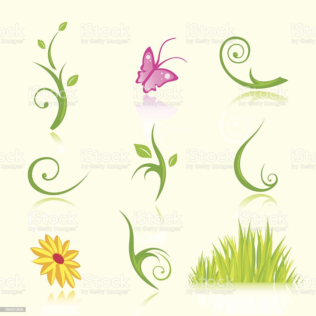 Floral Icons in Color vector art illustration