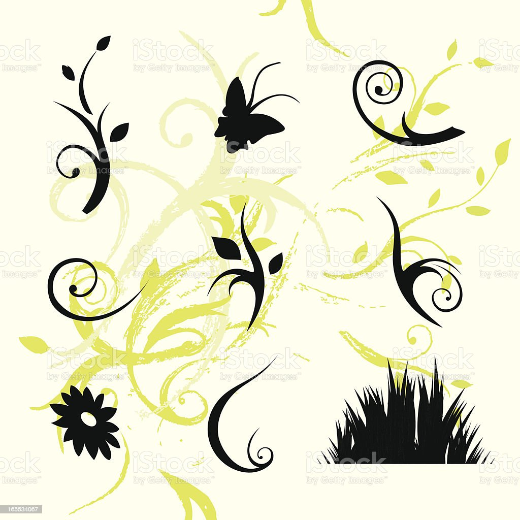Floral Icons vector art illustration