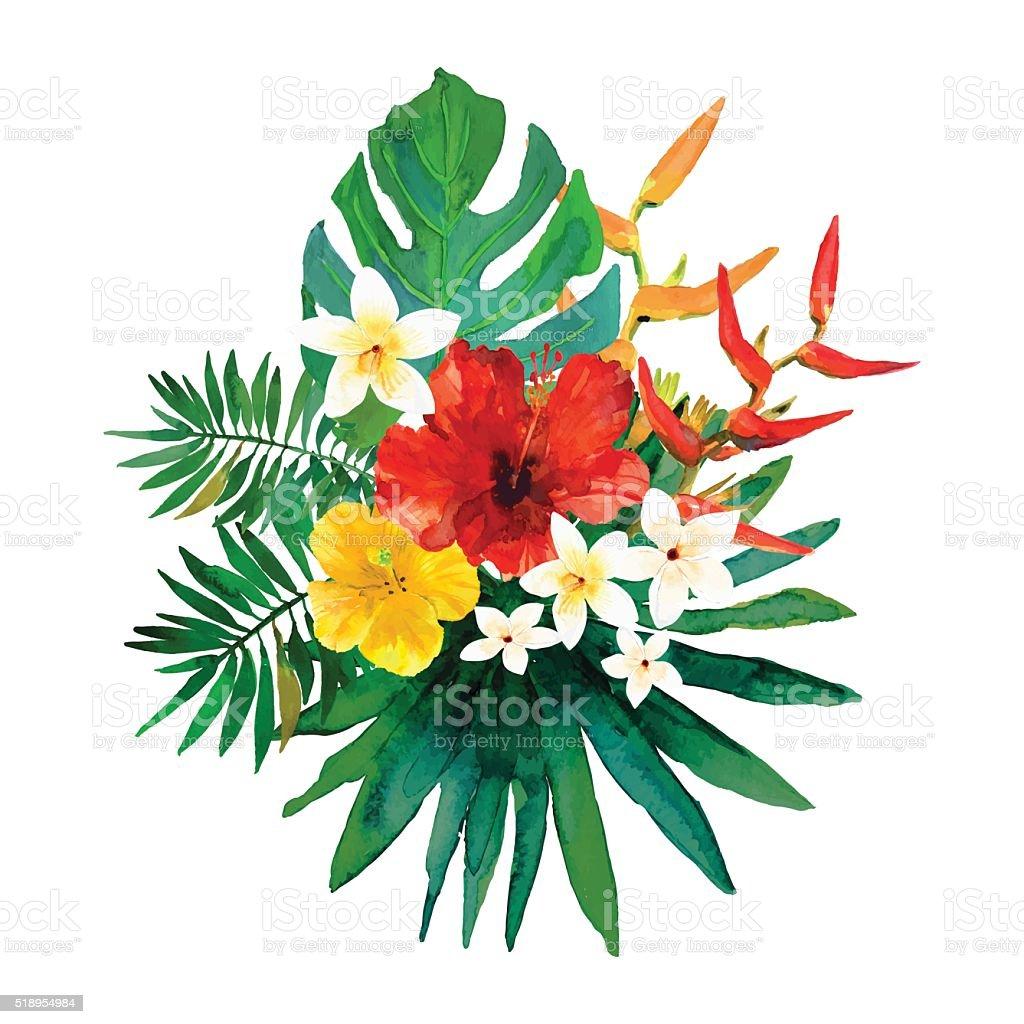 花柄イラスト南国の花と葉 お祝いのベクターアート素材や画像を多数ご用意 Istock