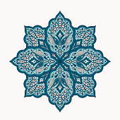 Floral indian mandala with paisley pattern vector. Eastern flower medallion ethnic ornament with arabesque. Vintage folk design element for cosmetic label, yoga studio logo, chistmas snowflake.