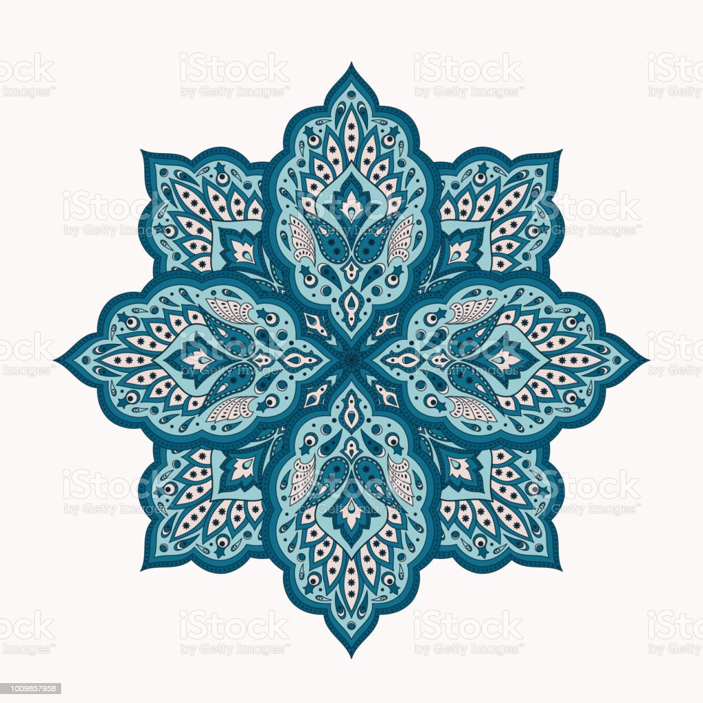 Floral indian mandala with paisley pattern vector. Eastern flower medallion ethnic ornament with arabesque. Vintage folk design element for cosmetic label, yoga studio logo, chistmas snowflake. vector art illustration
