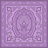 Floral indian paisley pattern vector border. Vintage flower ethnic ornament for scarf bandana print fabric. Oriental folk design for persian rug, gypsy carpet, silk shawl, boho pillow, medallion.
