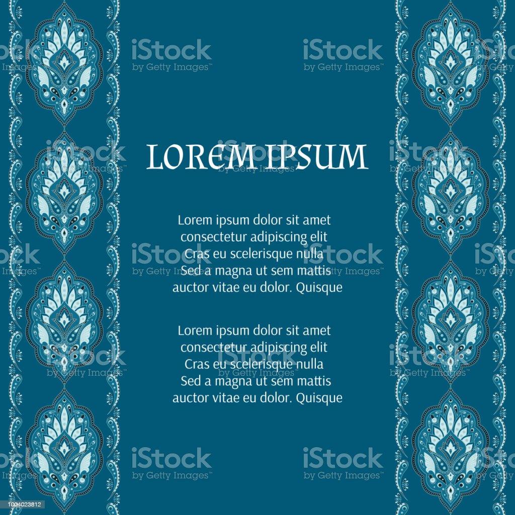 Indischen Paisley Blumenmuster Vektor Kartenvorlage Ottoman Vintage ...