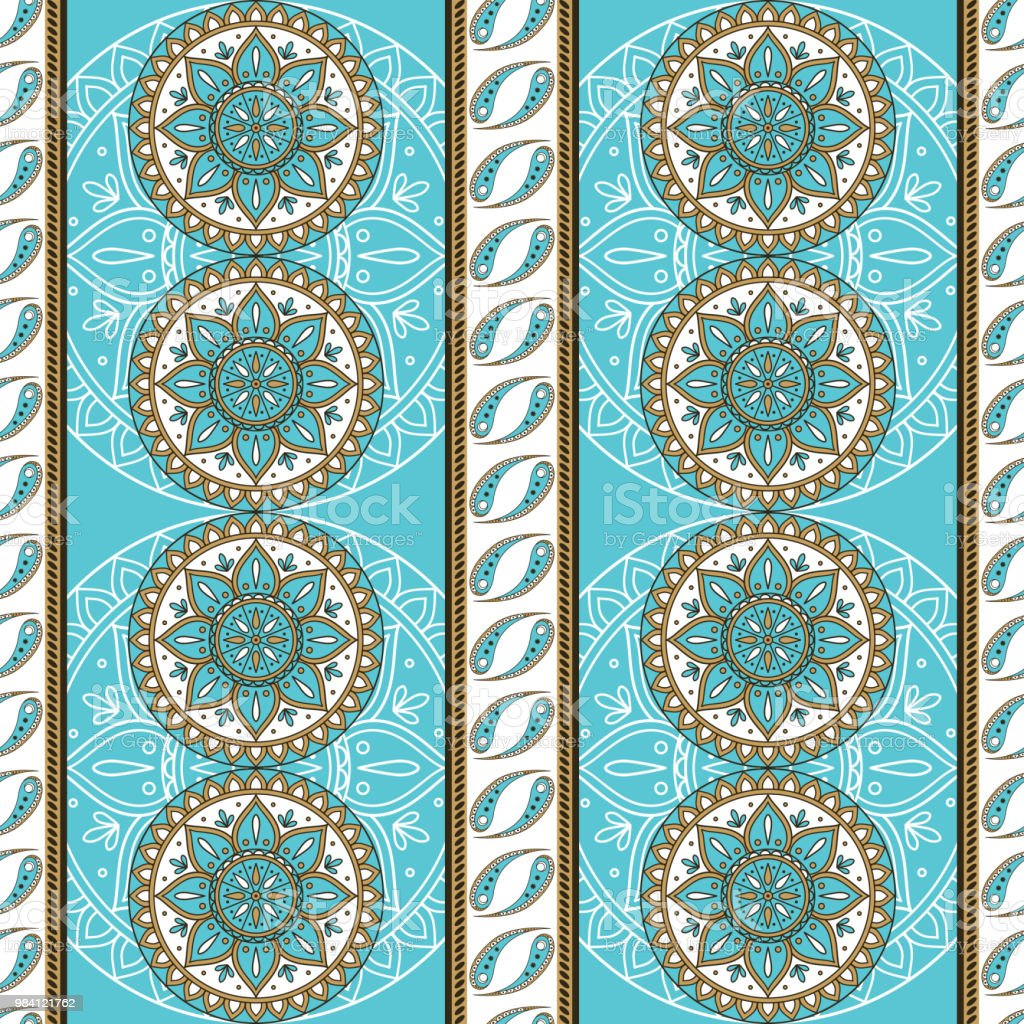 Floral Indian Paisley Pattern Vector Seamless Border
