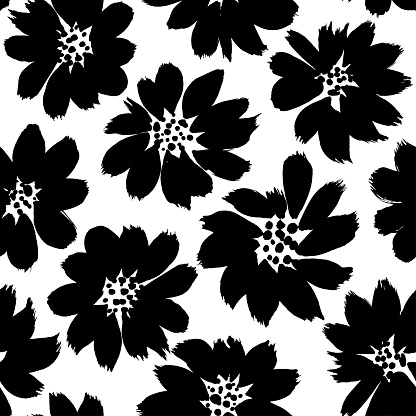 Floral ink pen vector seamless pattern. Japanese black abstract flowers texture. Monochrome spring blooming