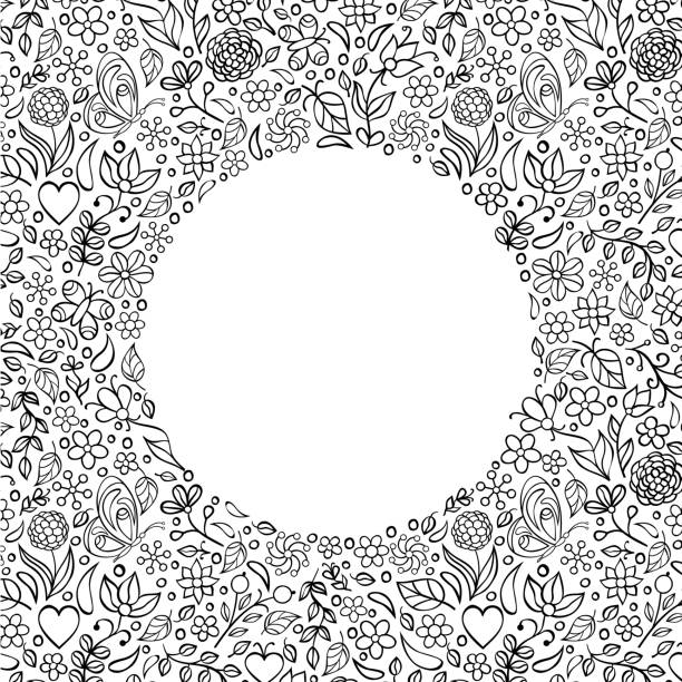 floral invitation card - coloring book pages templates stock illustrations