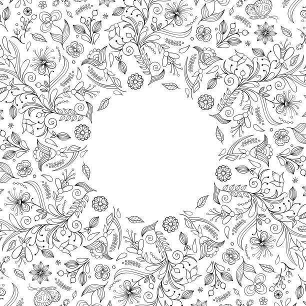 floral invitation card Invitation card with hand drawn flowers.Vector illustration. só adultos stock illustrations