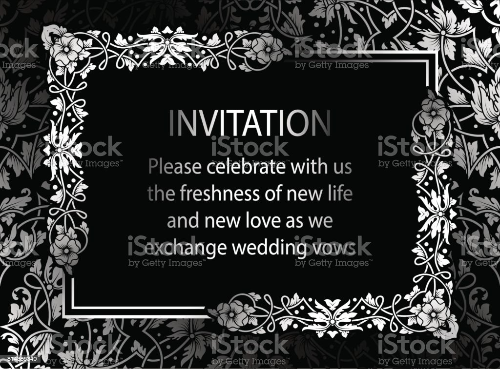 Floral Invitation Card With Antique Luxury Black And Silver
