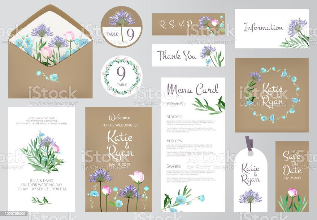 Ilustración De Invitaciones Florales Amor Boda Hermoso Saludo