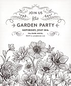 Black and white flower invitation with vintage flowers and calligraphy swirls.File is layered with global colors.Hi res jpeg without text and uncropped AI10 file  included.More works like this linked below.