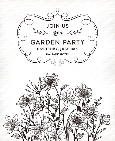 Black and white flower invitation with vintage flowers and calligraphy frame.File is layered with global colors.Hi res jpeg without text and uncropped AI 10 included.More works like this linked below.