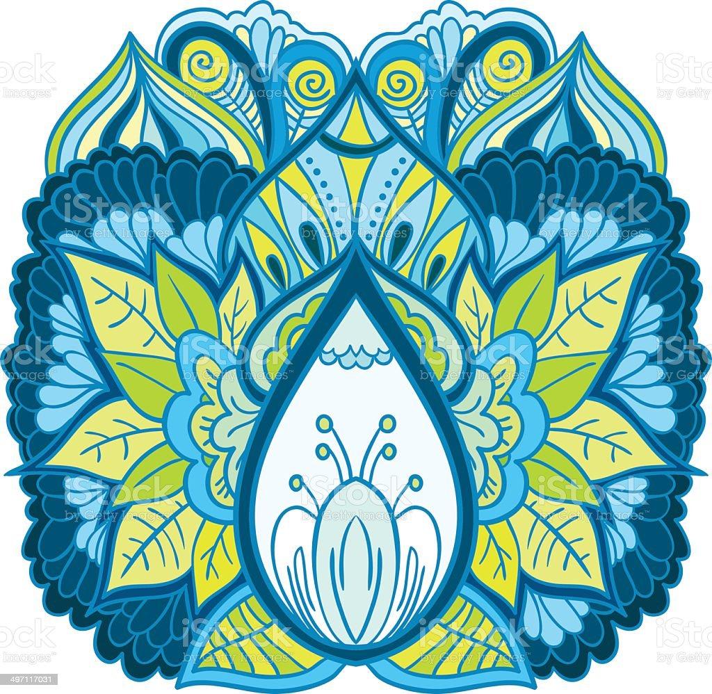 Ornement Floral isoleted œuvre d'art - Illustration vectorielle