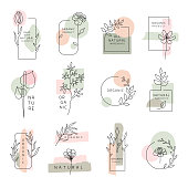 Set of floral design elements, frames and labels made with continuous line drawing. Editable vectors on layers.