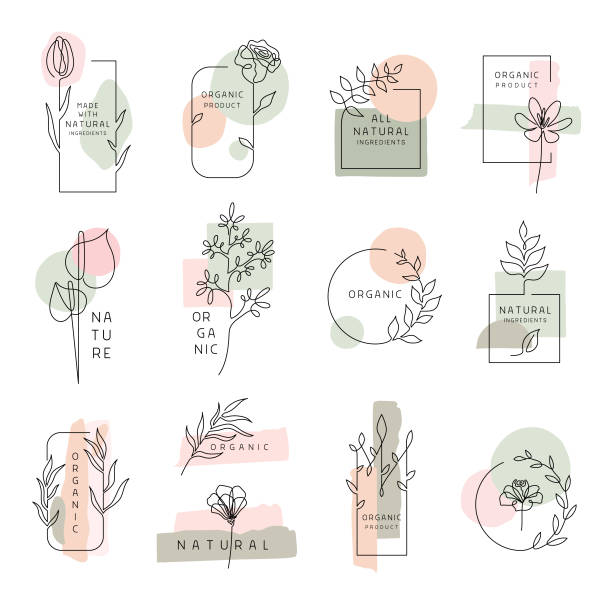 Floral labels for natural and organic products Set of floral design elements, frames and labels made with continuous line drawing. Editable vectors on layers. flower head stock illustrations