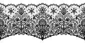 Black lace ribbon isolated on white. Horizontally seamless design