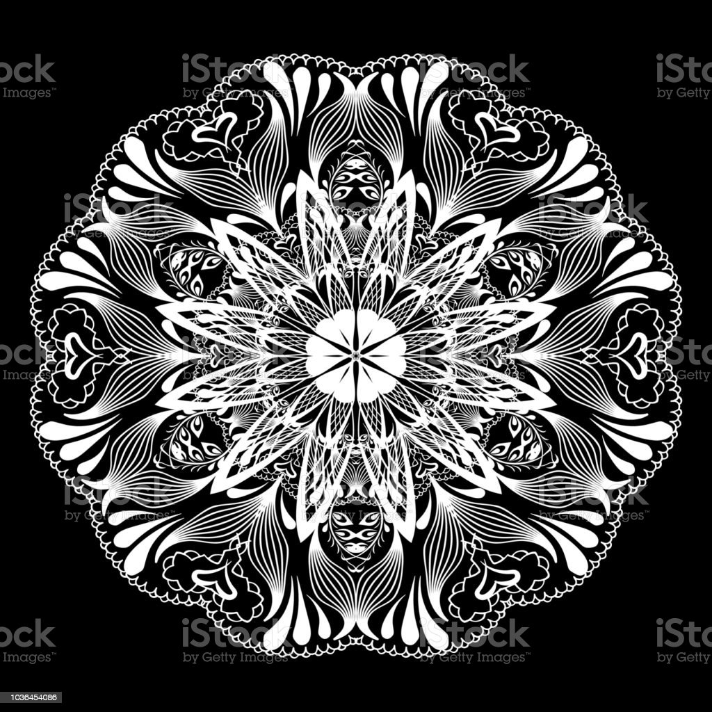 Floral lace mandala pattern. Vector black and white round line art...