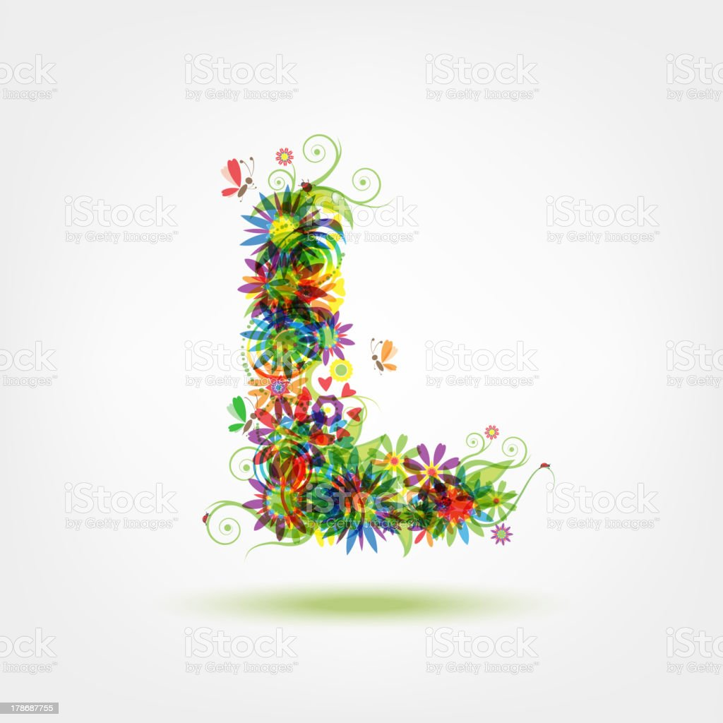Floral letter for your design royalty-free stock vector art