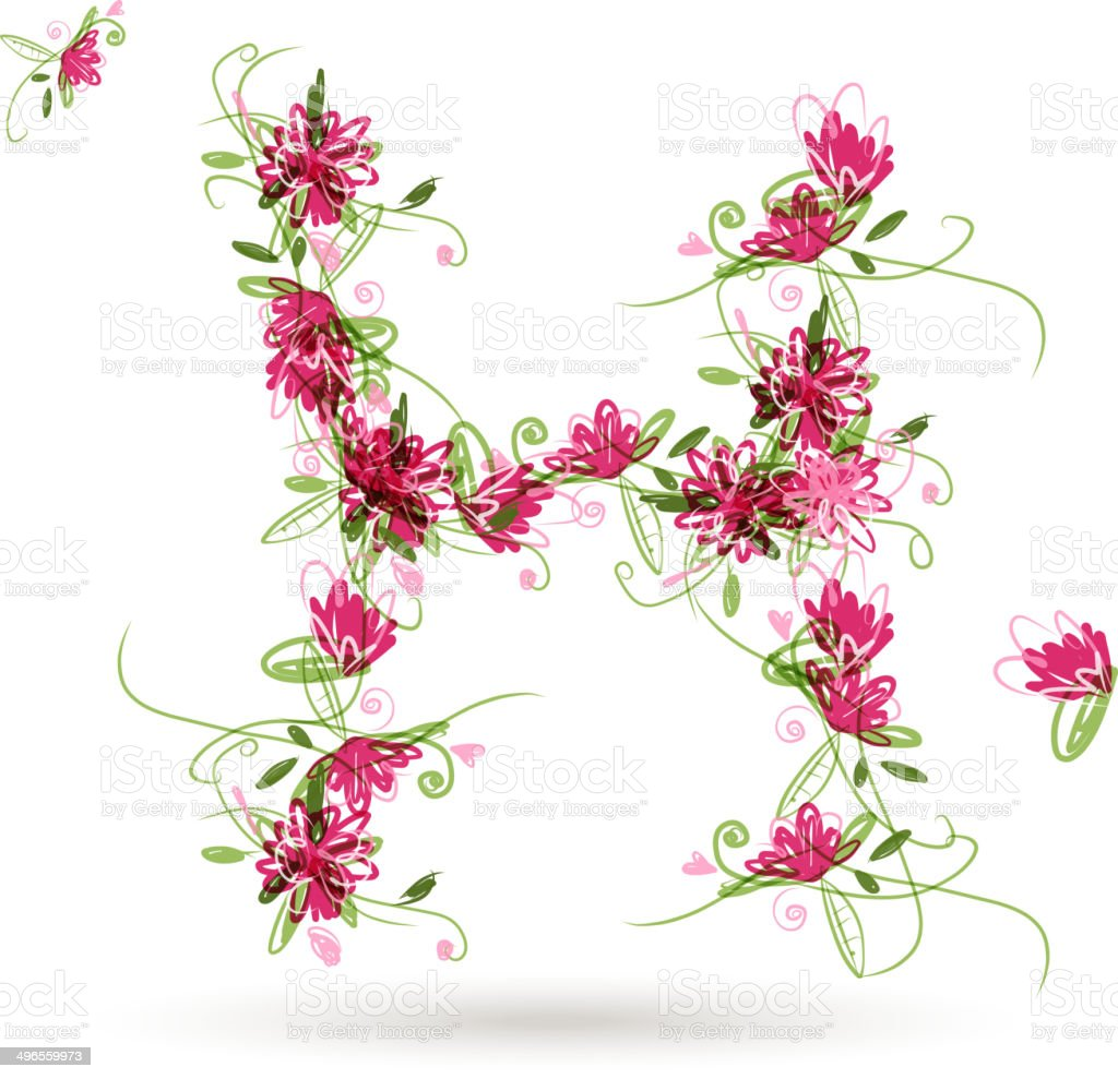 Floral letter H for your design royalty-free stock vector art