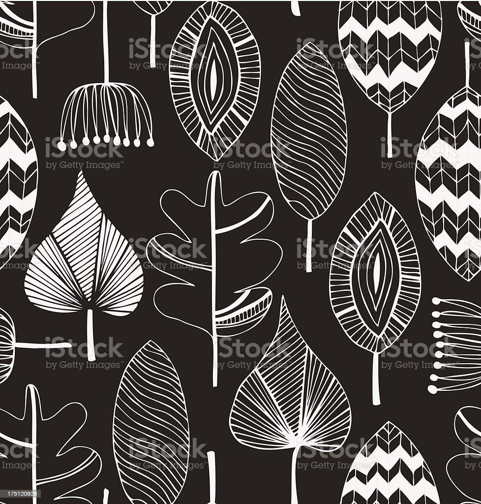 Floral linear seamless decorative pattern vector art illustration