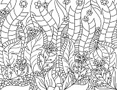 Floral lined artistically scene on a white