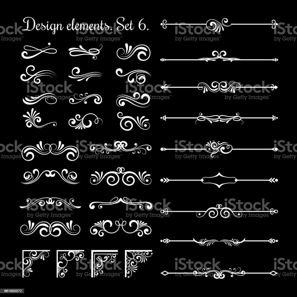 Floral lines filigree design elements. Vector vintage line elegant dividers and separators, swirls corners decorative ornaments