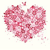 Vector illustration of Floral Love Shape. Floral Love Shape are done by single gradient tone only. Change color to the is easy, simply select the Floral Love Shape and change the gradient's color.