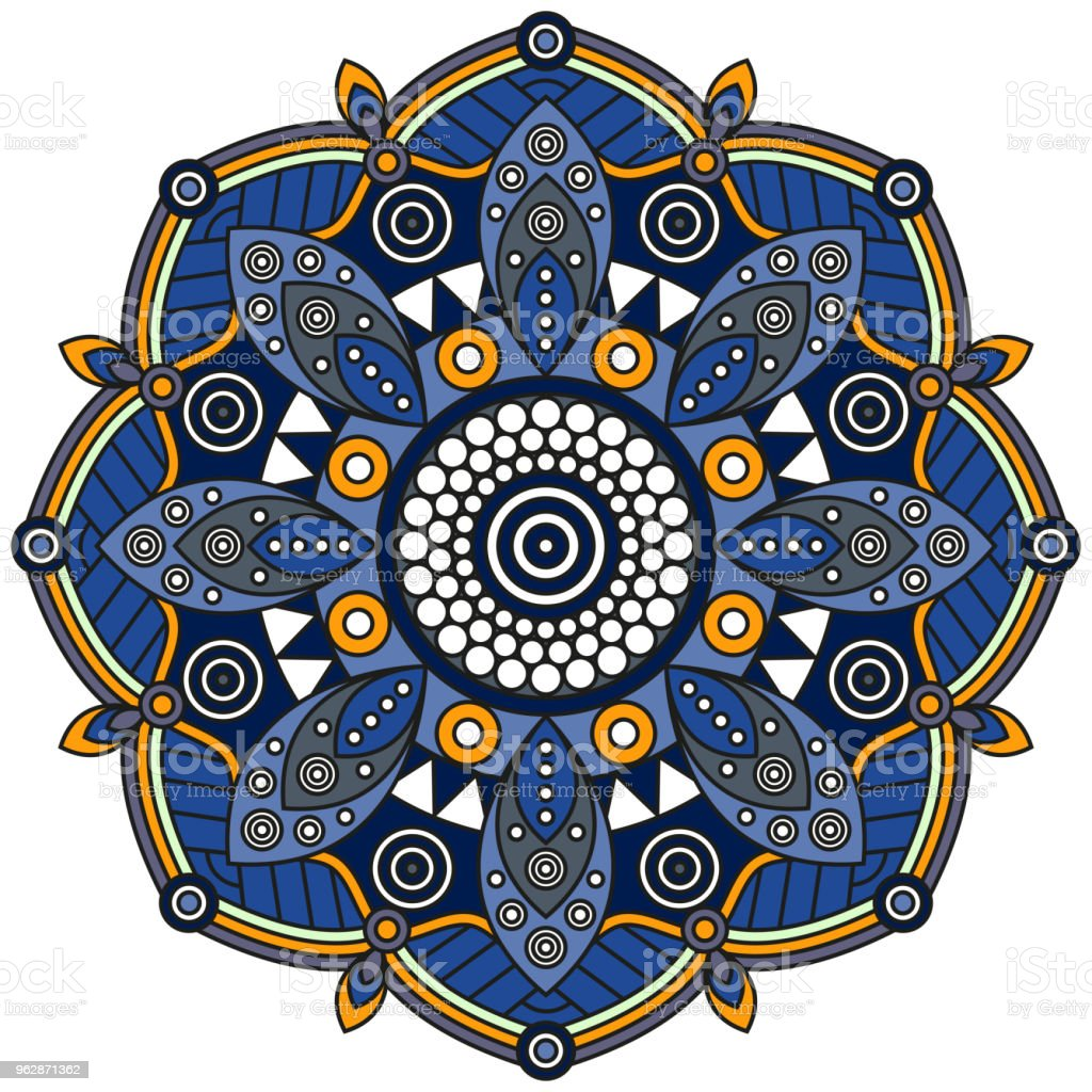 Medallón de mandala floral en azul, naranja y blanco. - ilustración de arte vectorial