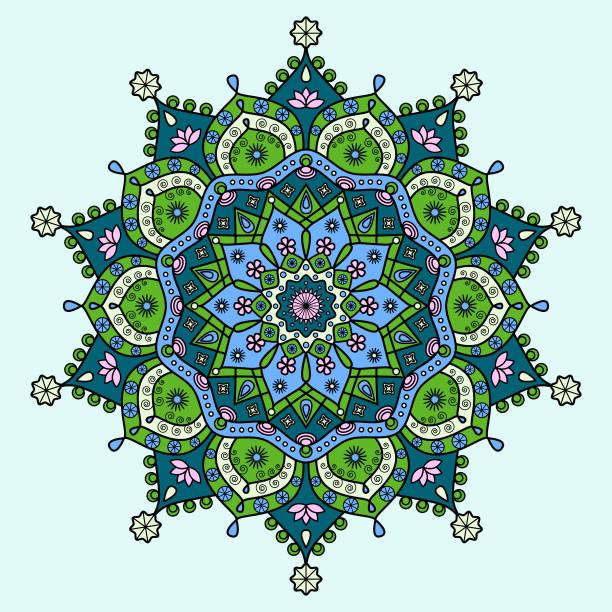 Medallón de mandala floral en verde, azul, rosa y crema. - ilustración de arte vectorial