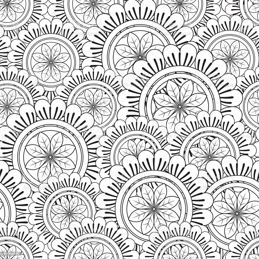 Floral Mandala Pattern Adult Coloring Page Stock Vector