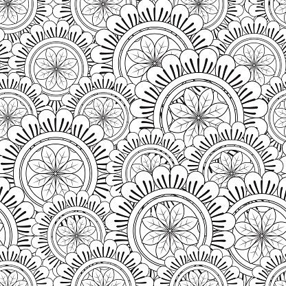 Floral Mandala Pattern Adult Coloring Page.