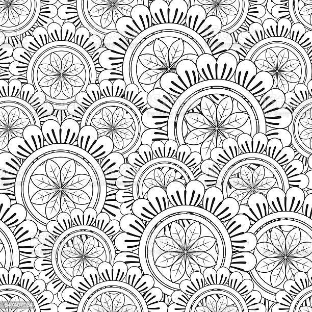 floral mandala pattern adult coloring page vector id