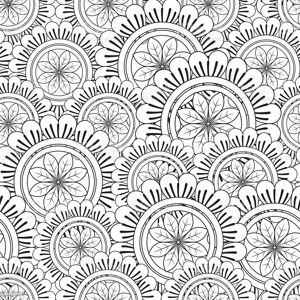 Floral Mandala Pattern Adult Coloring Page. vector art illustration