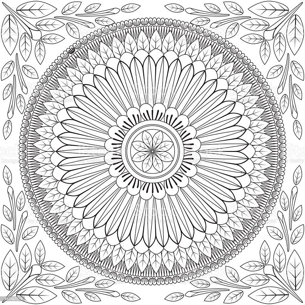 Floral Mandala Pattern Adult Coloring Page Stock Vector ...