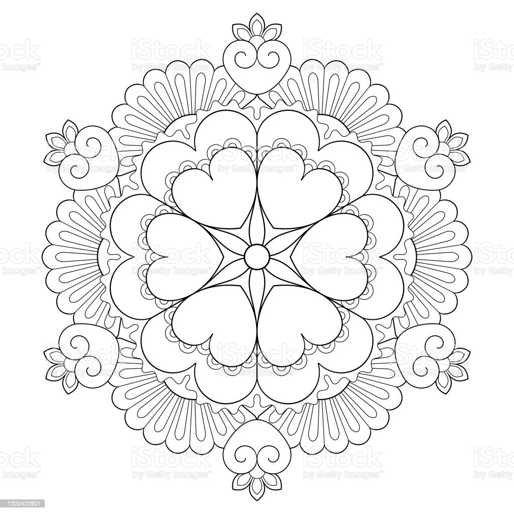 Floral Mandala Pattern In Black On White Isolated Background Adult
