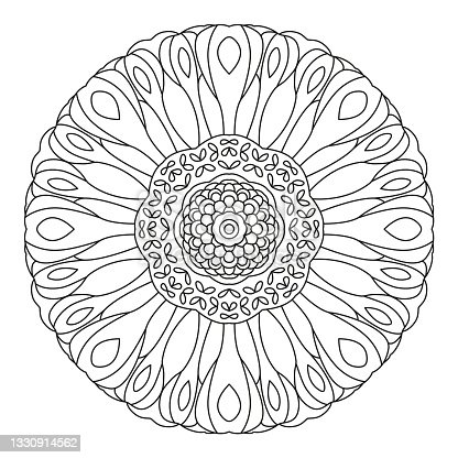 istock Floral Mandala Shape for Coloring. Vector Flower Mandala. Oriental. Book Page. Outline. 1330914562