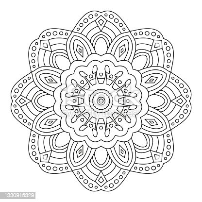 istock Floral Mandala Shape for Coloring. Vector Flower Mandala. Oriental. Book Page. Outline. 1330915329