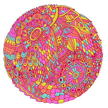 Floral mandala with flowers and leaves. Doodle shamanic colorful illustration. Abstract trippy pattern. Psychedelic art. Vector artwork