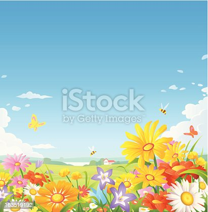A summer or spring landsapce with beautiful flowers, bees and butterflies, and a blue sky in the background with space for text. EPS 8, fully editable, grouped and labeled in layers.