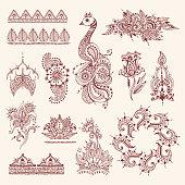 Floral mehendi flowers vintage pattern ornament vector illustration hand drawn henna india background textile