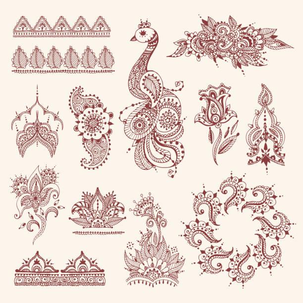stockillustraties, clipart, cartoons en iconen met floral mehendi bloemen vintage patroon sieraad vector illustratie hand getrokken henna india achtergrond - hennatatoeage