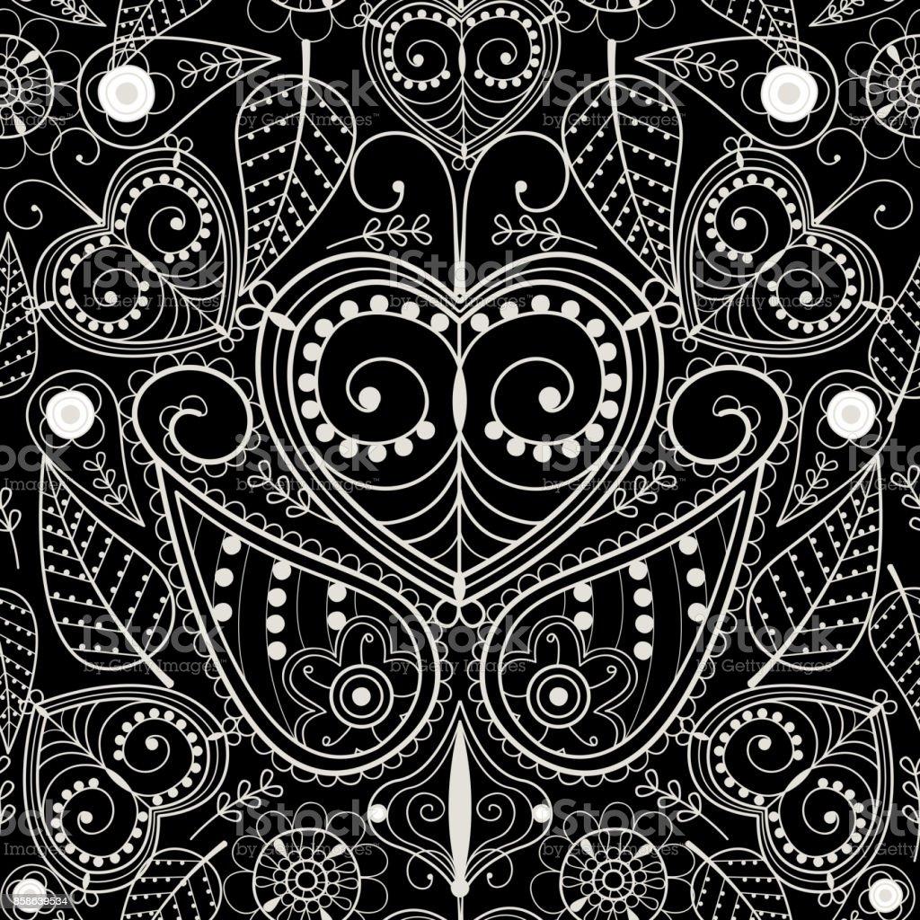 Floral Mehendi Muster Ornament Vektor Illustration Handgezeichnete